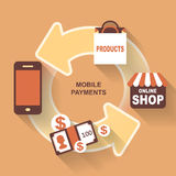Flat design mobile payments Royalty Free Stock Photography