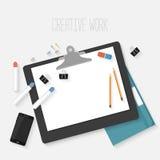 Flat design mockup per creative workspace Royalty Free Stock Images