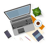 Flat design mockup per office workspace Royalty Free Stock Photo