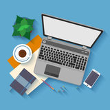 Flat design mockup per office workspace Royalty Free Stock Photo