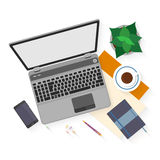Flat design mockup per office workspace Royalty Free Stock Photos