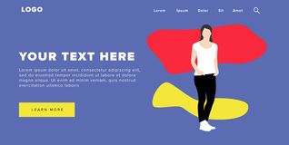 Free Flat Design Modern Colorful Web Banner And Slider Include Ui Elements With Standing Self-Confidence Woman Silhouette Landing Page Royalty Free Stock Photography - 128142257
