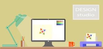 Flat Design of modern design studio Interior and d stock illustration