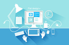 Flat design of modern devices. vector illustration Royalty Free Stock Photo
