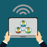 Flat design modern illustration of online education and and e-learning. User choose online course. Online course proposes video-on Stock Photos