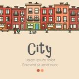 Flat design modern urban landscape and city background. Vector illustration Stock Images