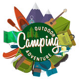 Flat design modern vector illustration of camping and hiking equipment set. Travel and vacation items, car rubber boat and shoes,. Tent, knife and axe, backpack Royalty Free Stock Images