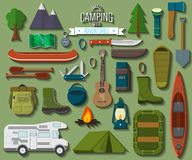 Flat design modern vector illustration of camping and hiking equipment set. Travel and vacation items, car rubber boat and shoes,. Tent, knife and axe, backpack Stock Images