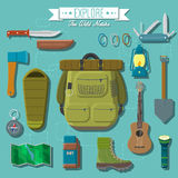Flat design modern vector illustration of camping and hiking equipment set. Travel and vacation items, knife and axe, backpack and hiking boots, lantern and Stock Photography