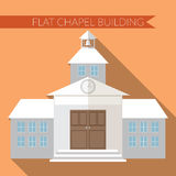 Flat design modern vector illustration of chapel or wedding church building icon, with long shadow on color background Stock Photo