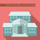 Flat design modern vector illustration of city hall building icon, with long shadow on color background Stock Photo