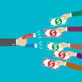 Flat design modern vector illustration concept for Bank, businessman holding magnet Royalty Free Stock Images