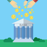 Flat design modern vector illustration concept for Bank with human hands dropping money, on color background Royalty Free Stock Photography