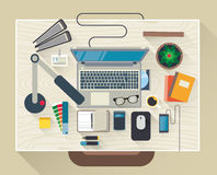 Flat design modern vector illustration. Concept of creative office workspace, workplace. Top view of desk background with laptop, digital devices, office Stock Photo