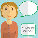 Flat design modern vector illustration concept of customer support manager with speach bubble, on color background Royalty Free Stock Images