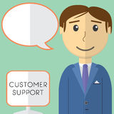 Flat design modern vector illustration concept of customer support manager  Royalty Free Stock Images