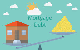 Flat design modern vector illustration concept for investment in real estate, house debt Royalty Free Stock Photos