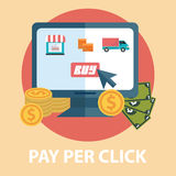 Flat design modern vector illustration concept of pay per click, Shopping online. Isolated on stylish background.  Royalty Free Stock Image