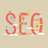 Flat design modern vector illustration concept of SEO word combi Royalty Free Stock Photo