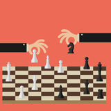 Flat design modern vector illustration concept. Of two business people playing chess and try to find strategic position and tactic for long-term success plan or Stock Photos