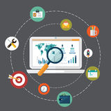 Flat design modern vector illustration concept of website analytics search information and computing data analysis using modern el Stock Photo