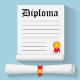 Flat design modern vector illustration of Degree Scroll with Red Ribbon and Diploma, on color background Royalty Free Stock Photos