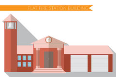 Flat design modern vector illustration of fire station building icon, with long shadow Stock Photo