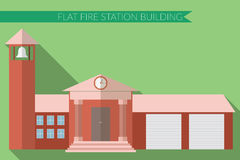 Flat design modern vector illustration of fire station building icon, with long shadow on color background.  Stock Photography