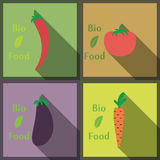 Flat design modern vector illustration of Healthy and biological Food, style with long shadows Stock Photos