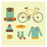 Travel set outdoor equipment for tourism Royalty Free Stock Photo