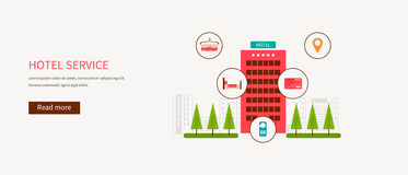 Flat design modern vector illustration icons set. Of urban landscape and hotel service. Building icon Stock Images