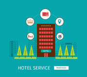 Flat design modern vector illustration icons set. Of urban landscape and hotel service. Building icon Royalty Free Stock Images