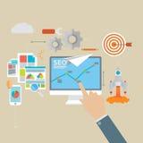 Flat design modern vector illustration icons set of website SEO. Optimization royalty free illustration