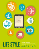 Flat design modern vector illustration infographic. Concept of variety using of smartphone with lots of multimedia icons and stylish mobile user interface on vector illustration