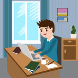 Flat design modern vector illustration lifestyle concept of handsome man in casual T-shirt sitting at the desk and Stock Images