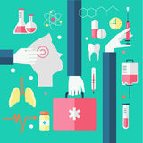 Flat design modern vector illustration of medical Royalty Free Stock Photos
