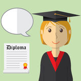 Flat design modern vector illustration of student in graduation gown with diploma and speach buble on color background Stock Photo
