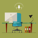 Flat design of modern workspace in minimal style with office equipment. Royalty Free Stock Photo