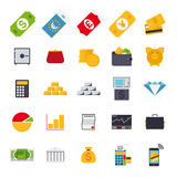 Flat Design Money and Finance Icons Collection. Set of 25 money and finance related icons, flat design Royalty Free Stock Photo