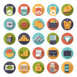 Flat Design Money and Finance Icons Collection. Set of 25 money and finance related icons in circles, flat design Stock Photos
