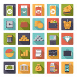 Flat Design Money and Finance Icons Collection. Set of 25 money and finance related icons in rounded squares, flat design Royalty Free Stock Photo