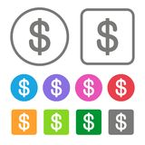 Flat Design Money Icon Color Set. Vector Stock Photography