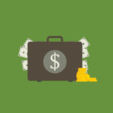 Flat Design of Money Suitcase, suitcase with money concept. Suitcase with money and gold illustration Stock Images