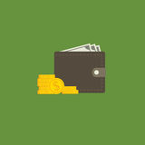 Flat Design Of Money Wallet. Wallet with money and dollar coin Stock Images