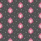 Flat design monkey heads and snow seamless pattern. Stock Images