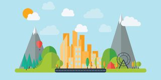 Flat design Mountain Town vector illustration
