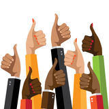 Flat design multicultural group thumbs up. Stock Photo