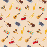 Flat Design Musical Instruments Seamless Pattern Stock Images