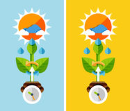 Flat design nature concept - plant growth Royalty Free Stock Photos