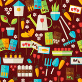 Flat Design Nature Gardening and Environment Seamless Pattern Stock Photography
